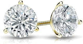 Lab Grown Diamond Stud Earrings Round in 14k Gold (1/4 to 1 1/4cttw, E-F, VS1-VS2) 3-Prong Martini, Screw-backs by Diamond Wish