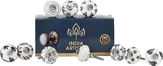 India Artistic Set van 10 witte keramische deurknoppen Vintage kast lade trekgrepen
