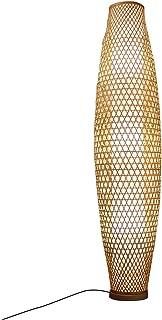 Lampadaire Lampe De Sol En Bambou De Style Japonais, Tissé À La Main, Imitation Couverture Intérieure En Peau De Mouton, P...
