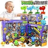 Grandes 4 Cajas / Set Plants Vs.Zombie Toys 2 Juego Completo De Niños Figura De Anime con Luz De Silicona Muñecas para Niños Regalos De Juguete De Cumpleaños para Niños