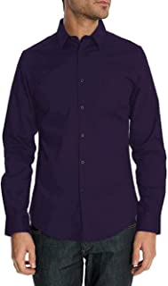 Ben Sherman Mens Solid Stretch Shirt Kings Tailored Fit Purple