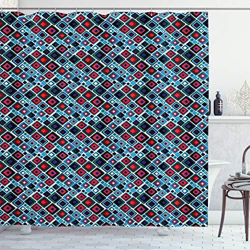 ABAKUHAUS Retro Duschvorhang, Abstrakt: Quadrate Entwurf, Wasser Blickdicht inkl.12 Ringe Langhaltig Bakterie & Schimmel Resistent, 175 x 200 cm, Multicolor