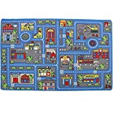 Mybecca Kids Rug Town Map 8' X 11' Childrens Area - Street Map Non Skid Backing (7'10' X 11'3')