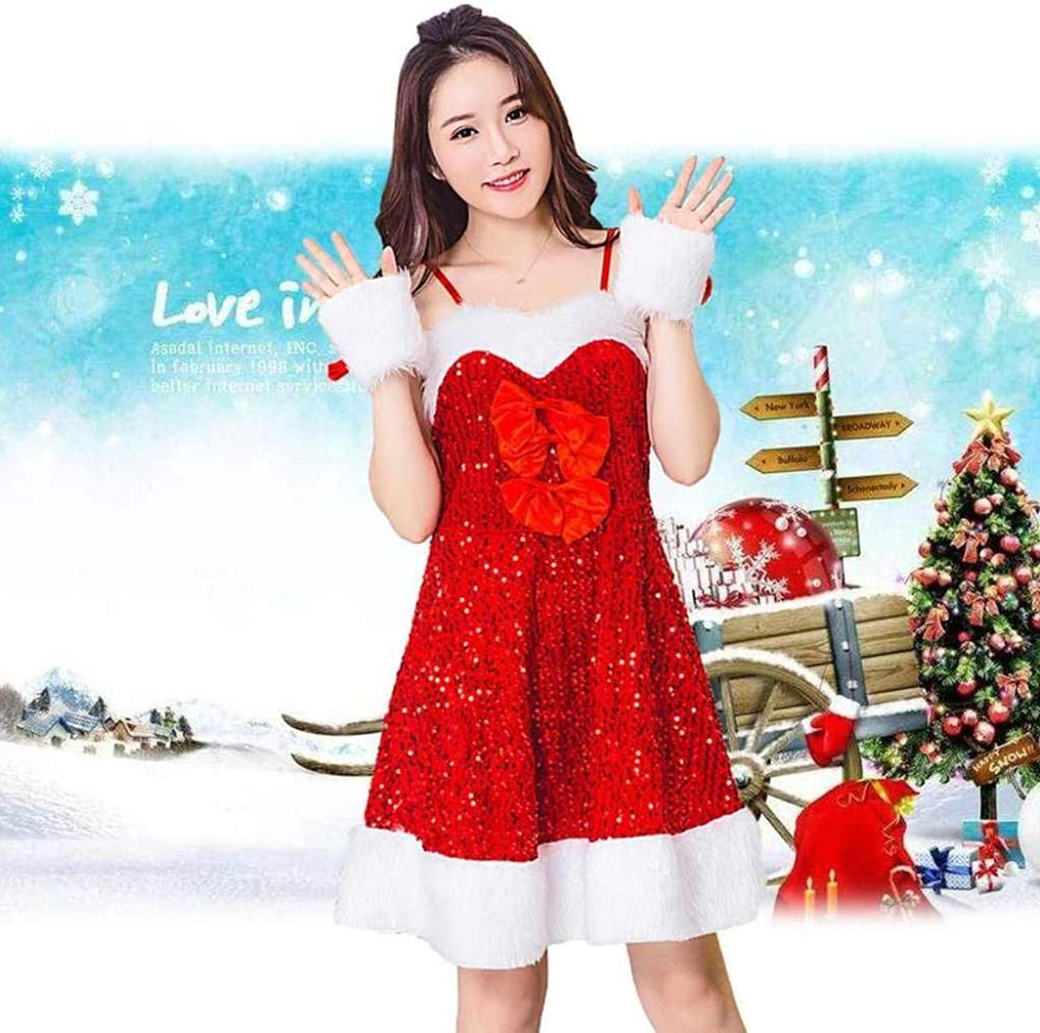 OFZYG Christmas Costume Sexy Cosplay Adult Woman Off Shoulder Sequin Christmas Dress Girls