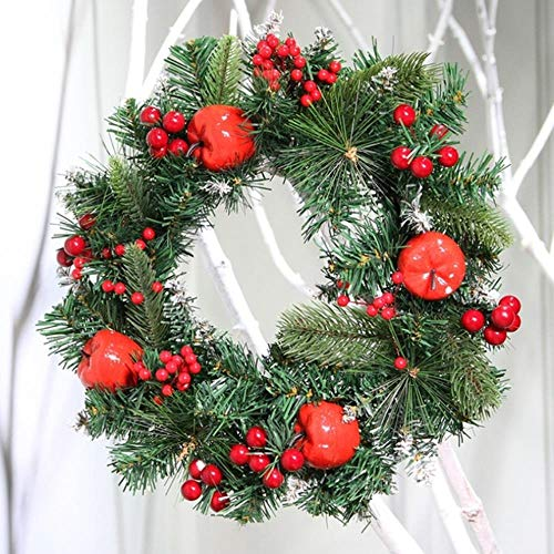 LLAAIT LED licht kerstkrans met rode appel en bessen decoratieve opknoping krans voor vakantie voordeur muur raamdecoratie