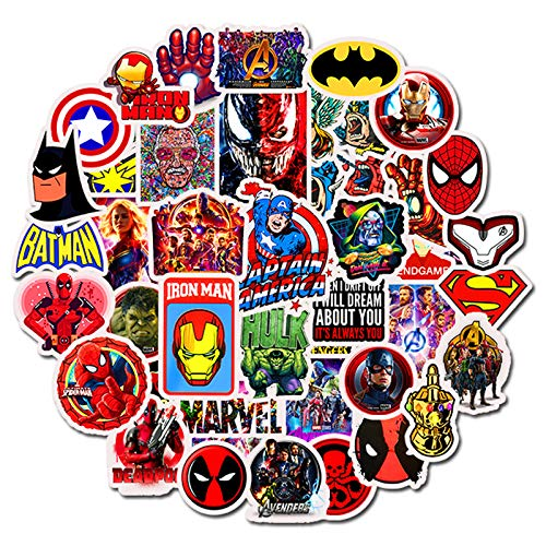 YZFCL Marvel Superhero Sticker Hulk Batman Movie Sticker Avengers League Kit Sticker 50Pcs