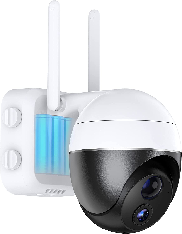 Camaras de Vigilancia WiFi Exterior con 10500mAh Batería Recargable,1080p PTZ Cámara IP WiFi sin Cables con Doble 5dBi Antena WiFi,PIR Humana Detección de Movimiento,Audio de 2 Vias,Visión Nocturna