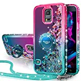 Galaxy S5 Case, Silverback Moving Liquid Holographic Sparkle Glitter Case with Kickstand, Bling Diamond Rhinestone Bumper W/Ring Slim Protective Samsung Galaxy S5 Case for Girls Women -Green