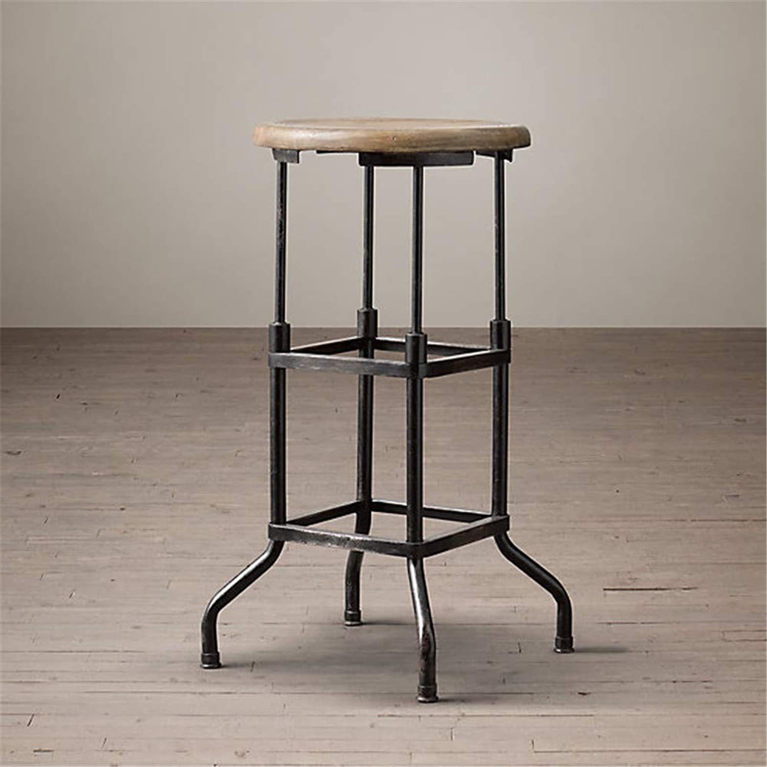American Country Retro Solid Wood Bar Chair Made of Old Industrial Style Bar Chair Simple Bar Stool High Chair