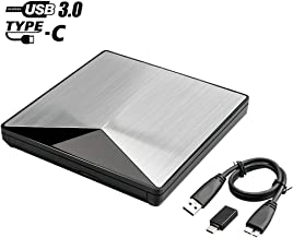 External DVD Drive for Laptop - Anfly Portable CD DVD Player USB 3.0 with Type C Adapter Premium SATA Chip, Shining Aluminum Alloy Casing 19 Inch Detachable Cord Compatible with Windows Linux Macbook