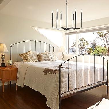 LASENCHOO 6-Light Matte Black Farmhouse Chandelier Light Fixture, 26 Inches Classic Candle Light Fixtures Ceiling Hanging, Ru