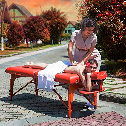 Master Massage Santana LX Portable Massage Table Package, Memory Foam Reiki Mountain Red