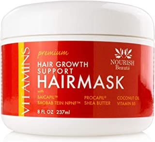 Nourish Beaute Premium Hair Mask for Deep Conditioning and Hydration on Dry Damaged Hair that Promotes Regrowth for Men and Women, 8 Ounces