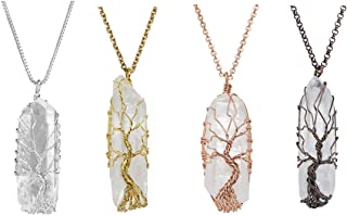 Top Plaza Natural Raw Stone Healing Crystal Necklaces Tree of Life Wire Wrapped Clear Quartz Point Pendant for Womens Ladies - Set of 4