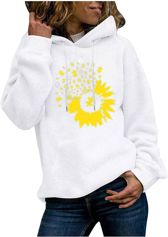 Gerichy Hoodies for Women, Womens Long Sleeve Sunflower Printed Fall Hoodies Cute Plus Size Sweater Hoodies with Pocket