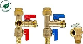 Libra Supply 3/4 inch Lead Free Tankless Water Heater Isolation Valve Kit with Pressure Relief Valve, FNPT x Expansion PEX, 3/4'' Service Valve for Rheem, Rinnai, Ecosmart, Navien, Noritz, Takagi