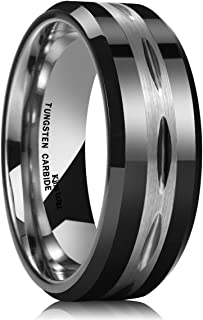Classic Mens Black 8mm Tungsten Carbide Ring Two Tone Brushed Diamond Engraved Wedding Band
