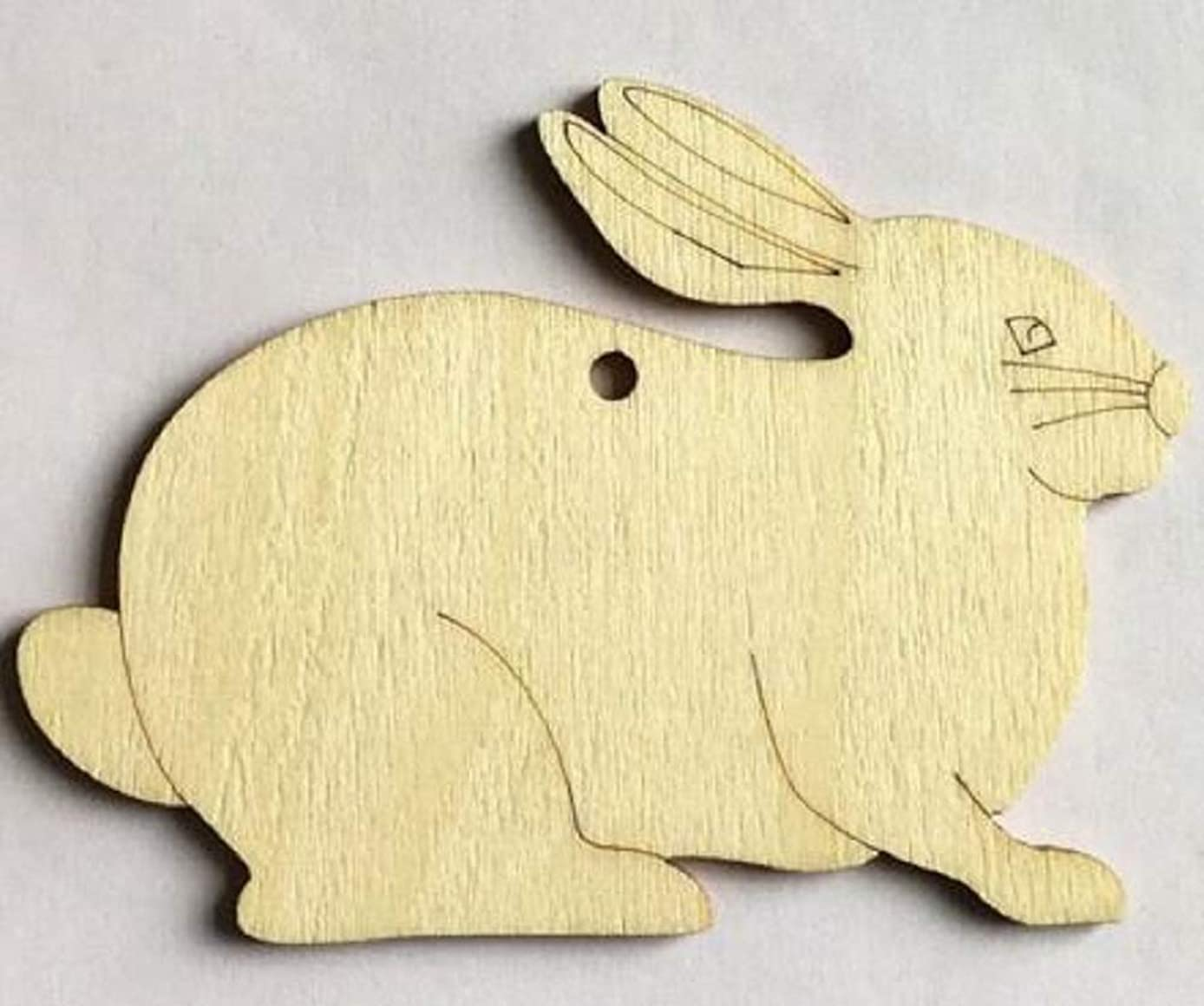 10 pcs Rabbit Shaped Natural Unfinished Wooden Cutouts DIY for Craft Projects, Decorations, Birthdays, Weddings, Gift Tags, Craft Tree Ornaments, Scrapbooking and much more by My Purple Giraffe