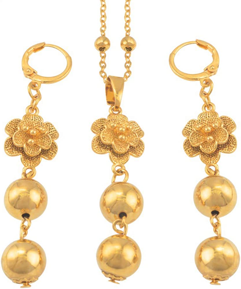 Flower And Beads Jewelry Sets Bead Chain Necklace Earrings For Women African Trendy Round Ball Jewellery Gifts Chain Length 45cm