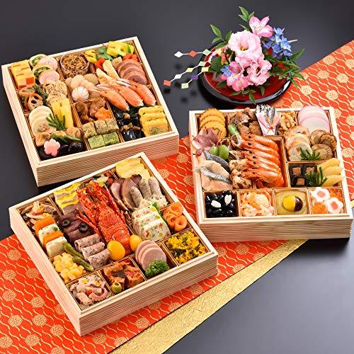 京都 しょうざん 和洋おせち料理 2021 華宴 特大8.5寸 三段重 77品 盛り付け済み 和風&洋風 冷凍おせち 4人前〜5人前 お届け日:12月30日