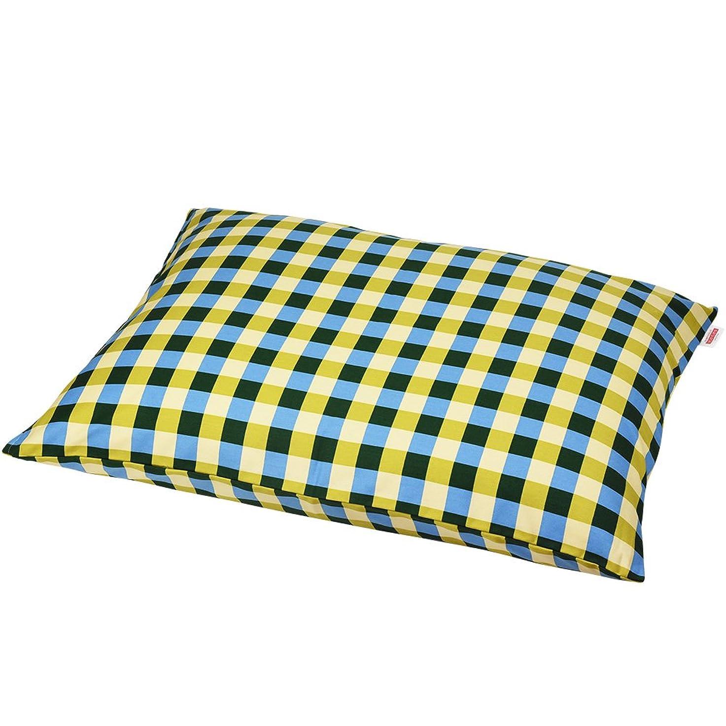 特にまぶしさ修理可能枕カバー 60×80cmの枕用 チェック綿100% ファスナー式 ステッチ仕上げ 日本製 枕 綿 ブルー