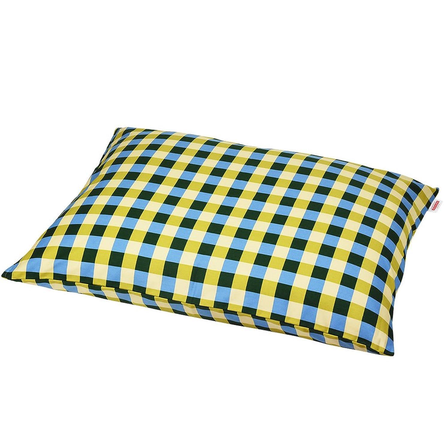 危機指ロボット枕カバー 60×80cmの枕用 チェック綿100% ファスナー式 パイピング仕上げ 日本製 枕 綿 ブルー
