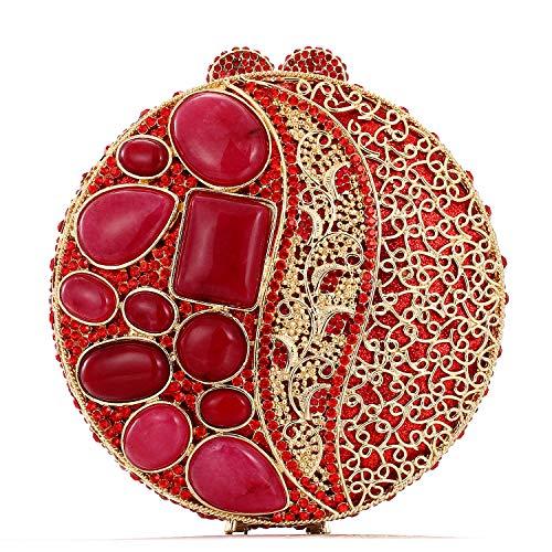 Damen-Clutch aus Achat mit Strasssteinen, luxuriös, volle Diamantfarbe, Abendtasche, Metallkette, Mini-Handtasche