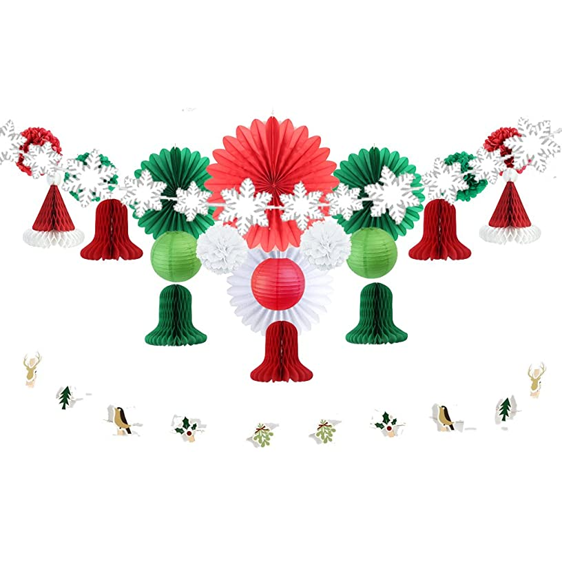 Christmas Party Decorations Kit Paper Wheel Fans Snowflake Ornaments Bell Santa Hat Honeycomb Balls Birthday Wedding Christening Baby Shower Xmas Decorations SUNBEAUTY 22 Pieces (Red White Green)