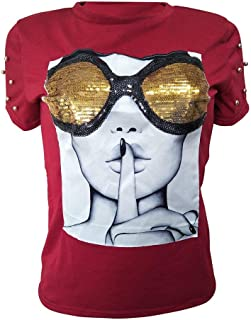 PESION Womens Short Sleeve T-Shirt Sequined Tops O-Neck Funny Graphic Tees Blouse