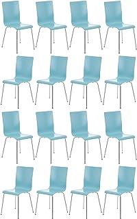 CLP Set de 16 Sillas Comedor Pepe I Juego de 16x Sillas de Conferencia con Asiento de Madera I 16x Sillas de Cocina con Base de Metal I Color: Azul Claro