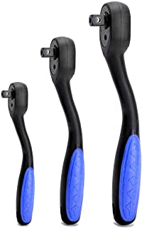 "HELAKLS 3-Piece Ratchet Set 1/2"" 3/8"" 1/4-Inch Drive Socket Wrench Quick-Release Composite Offset Handle Reversible Gear S..."