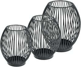 Fenteer 3 Pieces 6Pcs Wrought Iron Candle Holder Mesh Tealight Candlestick Home