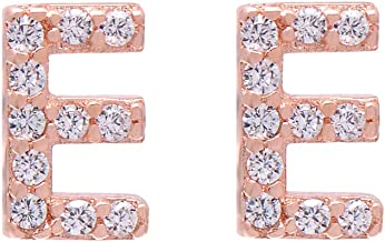 Paialco Rose Gold Plated Sterling Silver Initial Letter Studs Earrings for Girl and Women