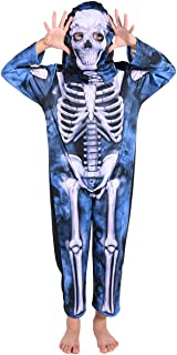 Familus Ghost Skeleton Halloween Costume with Mask for Kids Boys and Girls