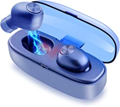 Bluetooth Earbuds, True Wireless Earbuds Bluetooth V5.0 HD Stereo Sound Touch Control Earphones Waterproof Earbuds Mini Twins Stereo Bluetooth Headset with Built-in Mic and Charging Case (Blue)