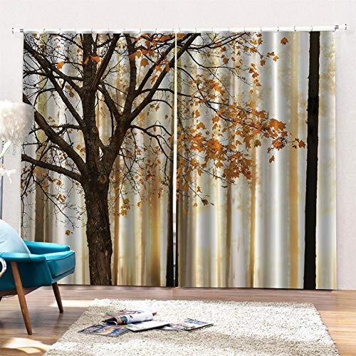 SK Studio Gardinen Schlafzimmer Vorhänge 2 Stück Verdunkelungsvorhänge Blackout 3D Curtain, Gemalter Ahorn 300 x 207cm (W x L)