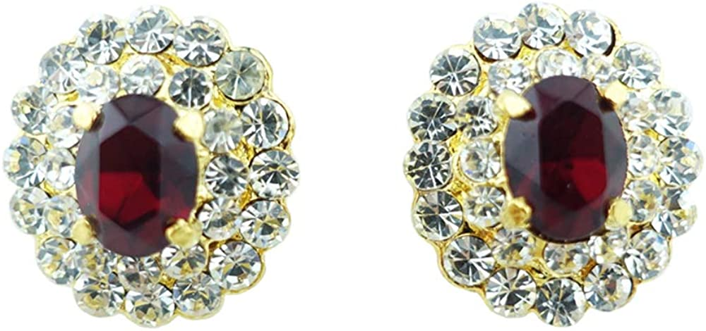 Siwalai Thai Traditional Gold Plated Red Siam Crystals Clip On Earrings 0.6 Inches