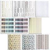 FLOFIA 10 Hojas Pegatinas Uñas 3d Cinta Adhesiva Uñas de Línea Nail Striping Tape Dorado Plateado Nail Stickers Stripe Line Curva 10 Estilos para Decoración Uñas Accesorios DIY Diseño Arte de Uñas