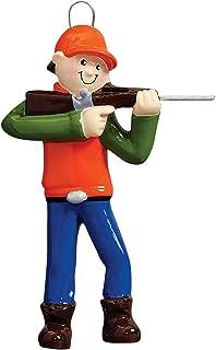 Personalized Hunter Boy Christmas Tree Ornament 2019 - Huntsman Gone Wild-Life Rifle Gun Trapper Hobby Stalker Woodsman Game Shooting Sport Profession Orange Vest Country - Free Customization