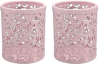 CTKcom 2-pack Hollow Rose Flower Pattern Metal Pen Pencil Pot Cup Holder Desk Container Organizer,2 pieces,Pink