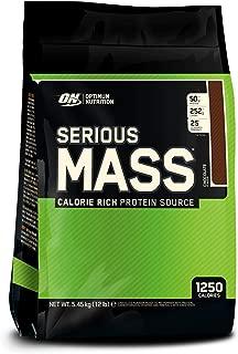 Optimum Nutrition ON Serious Mass Protein Powder Mass Gainer Alto en proteínas, con vitaminas, creatina y glutamina, chocolate, 16 porciones, 5,45 kg