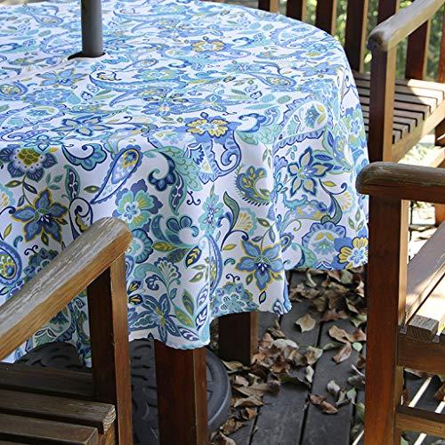 BTSKY Mantel de sombrilla para patio al aire libre de 60 pulgadas con cremallera y agujero para paraguas, mantel redondo resistente al agua y a las manchas (Paisley)
