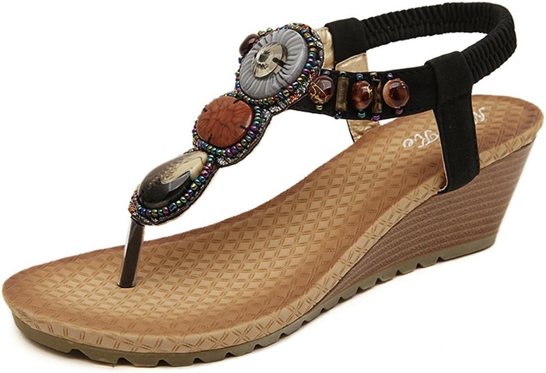 Btrada Bohemian Wedge Sandal for Women Clip Toe Thong Flip Flops Elastic Ankle Strap Platform Beach Slope Heel shoes