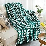 HT&PJ Super Soft Lightweight Flannel Fleece Throw Blanket Microfiber Velvet Cozy Warm Throw Blanket for Living Room (Green White,(Throw50 X 60'))