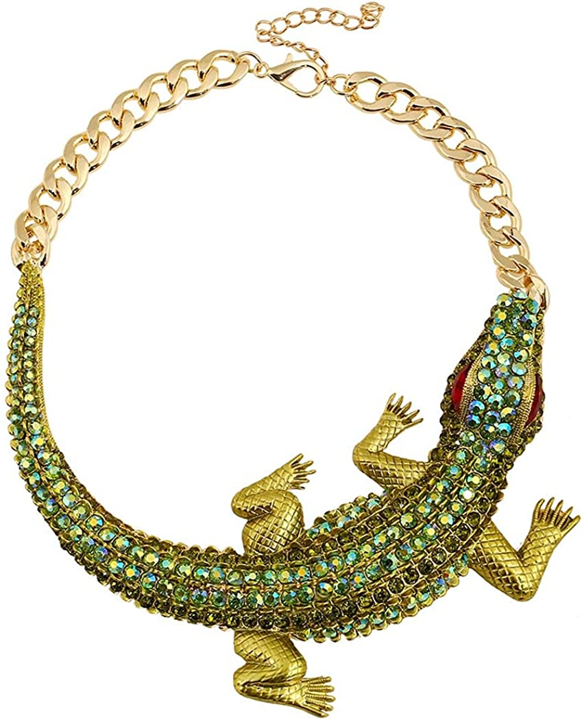 Zeelina Ethnic Chunky Choker Necklace Rhinestones Carved Crocodile Collar Necklaces Punk Gothic Exaggerated Jewelry for Women and Girls