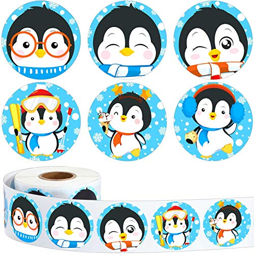 600 Pieces Cute Penguin Stickers Winter Stickers Roll 1.5 Inch Cartoon Penguin Seal Card Labels Teacher Reward Stickers for Kids Christmas Winter Birthday Party Favor, 6 Styles