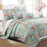 Cozy Line Home Fashions Cotton Reversible Quilt Bedding Set, Bedspread, Coverlet, 1 Quilt and 2 Pillow Shams (Mirage Paisley, King - 3 Piece)
