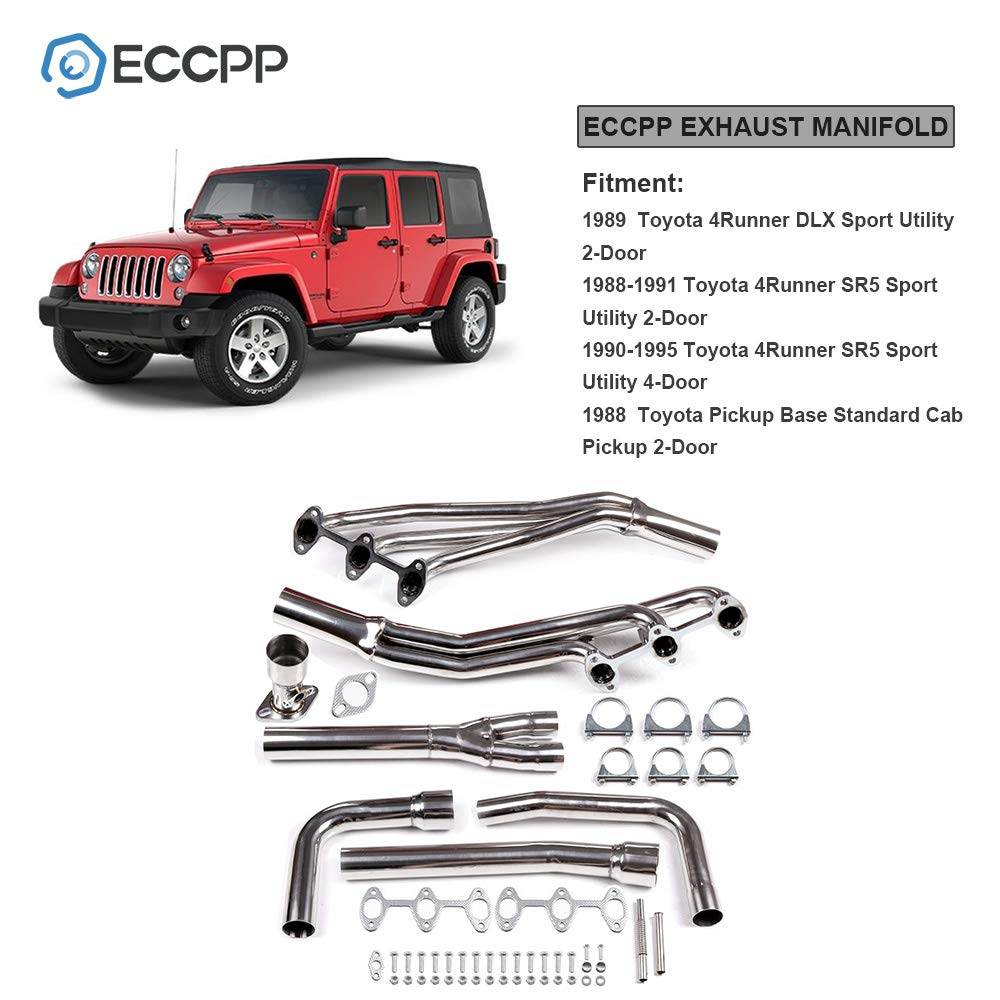ECCPP Exhaust Manifold Set Stainless Steel Automotive Replacement Exhaust Manifolds for 88-95 Toyota 4RUNNER//Pickup 3.0 V6 6-2-1