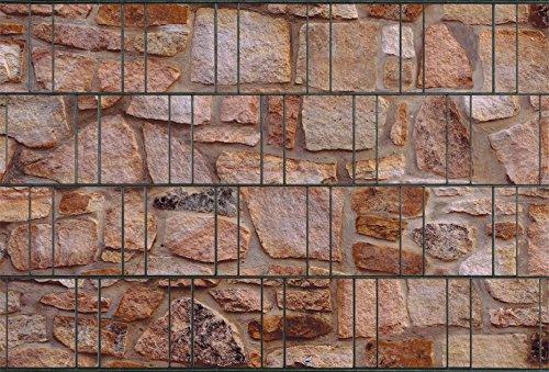 Sichtschutzstreifen aus 100 % formbeständigem PES | 26m x 19cm Rolle | Motiv: Sandstein
