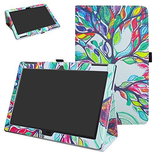 "Lenovo Moto tab X704A Case,Mama Mouth PU Leather Folio 2-Folding Stand Cover with Stylus Holder for 10.1"" Lenovo Moto tab X704A / Lenovo Tab 4 10 Plus Tablet,Love Tree"